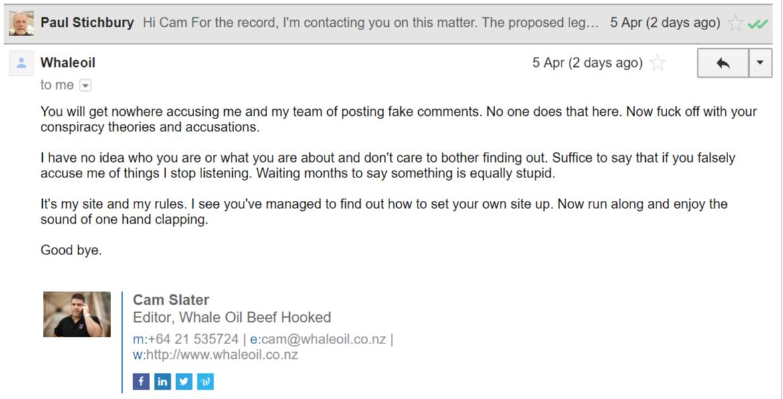 Slater replies